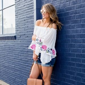 Off the shoulder bell sleeve embroidered top